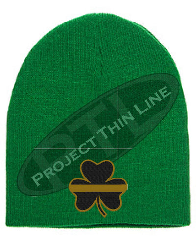 Embroidered Thin Gold Line Shamrock Skull Cap