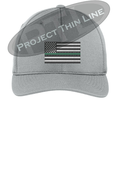 Light Grey Embroidered Thin Green Line American Flag Flex Fit Fitted Baseball Hat