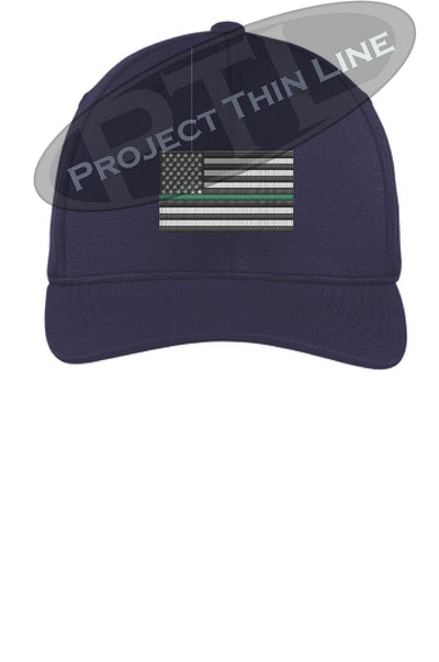 Navy Embroidered Thin Green Line American Flag Flex Fit Fitted Baseball Hat