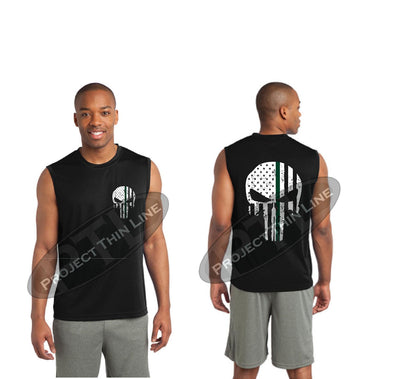 BLACK Thin Green Line SKULL Tattered American Flag Performance Tank Top
