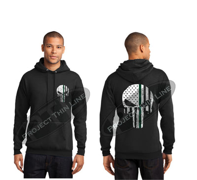 BLACK Hooded Sweatshirt Thin GREEN Line Punisher Skull inlayed with the Tattered American Flag