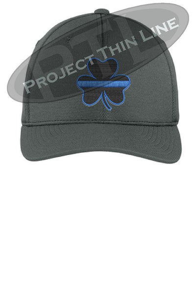 Thin Blue Line Shamrock Clover Flex Fit Hat