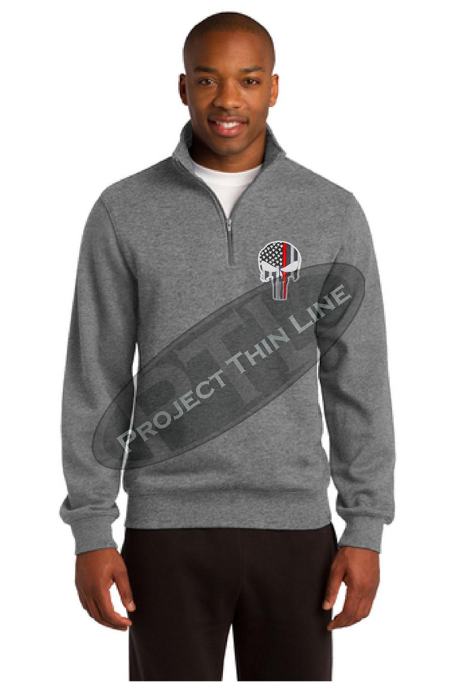 Grey Thin Red Line Punisher Skull 1/4 Zip Fleece Sweatshirt