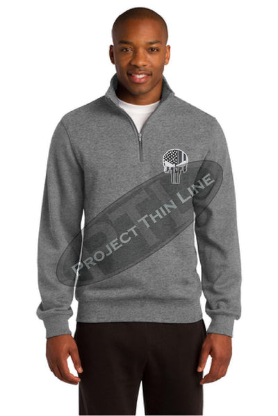 GREY Embroidered Thin Silver Line Skull Punisher inlayed with American Flag 1/4 Zip Fleece Sweatshirt