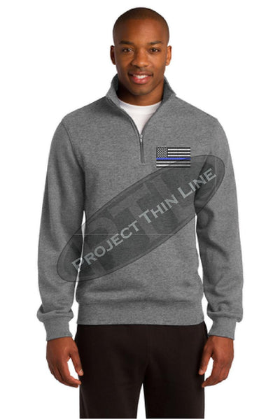 Grey Embroidered Thin Blue Line American Flag 1/4 Zip Fleece Sweatshirt