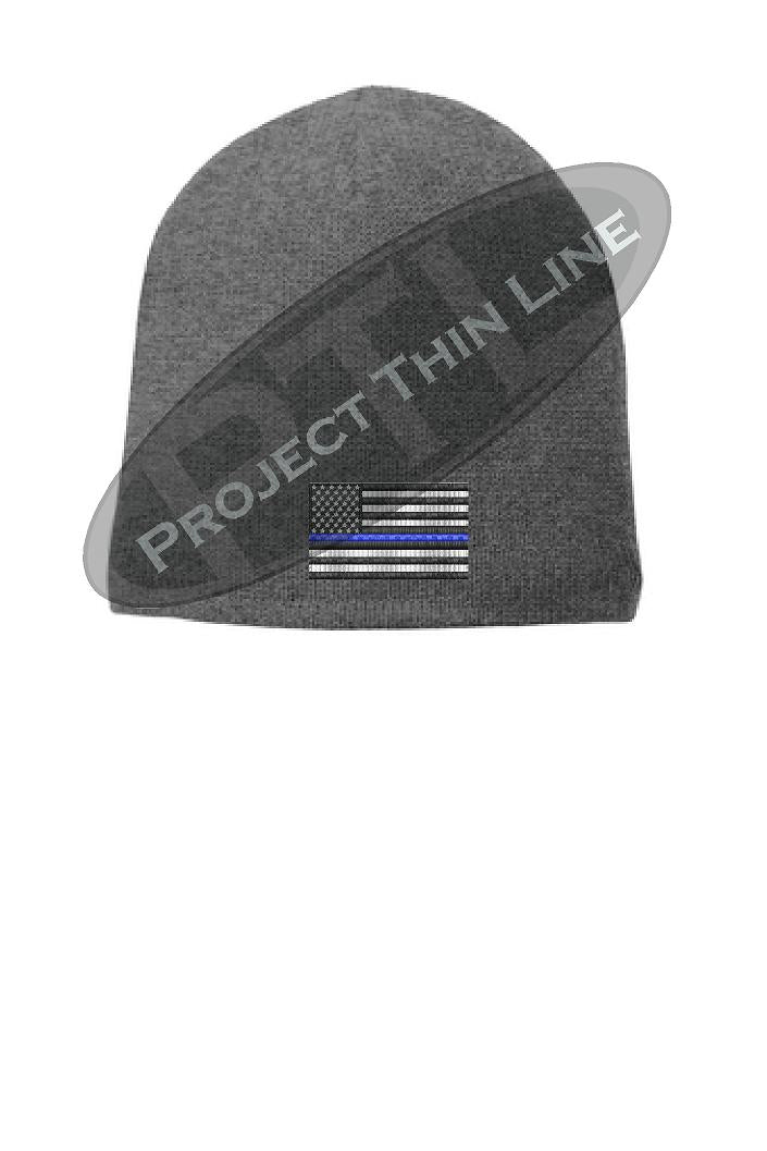GREY Thin Blue Line Flag Skull Cap FLEECE LINED BEANIE