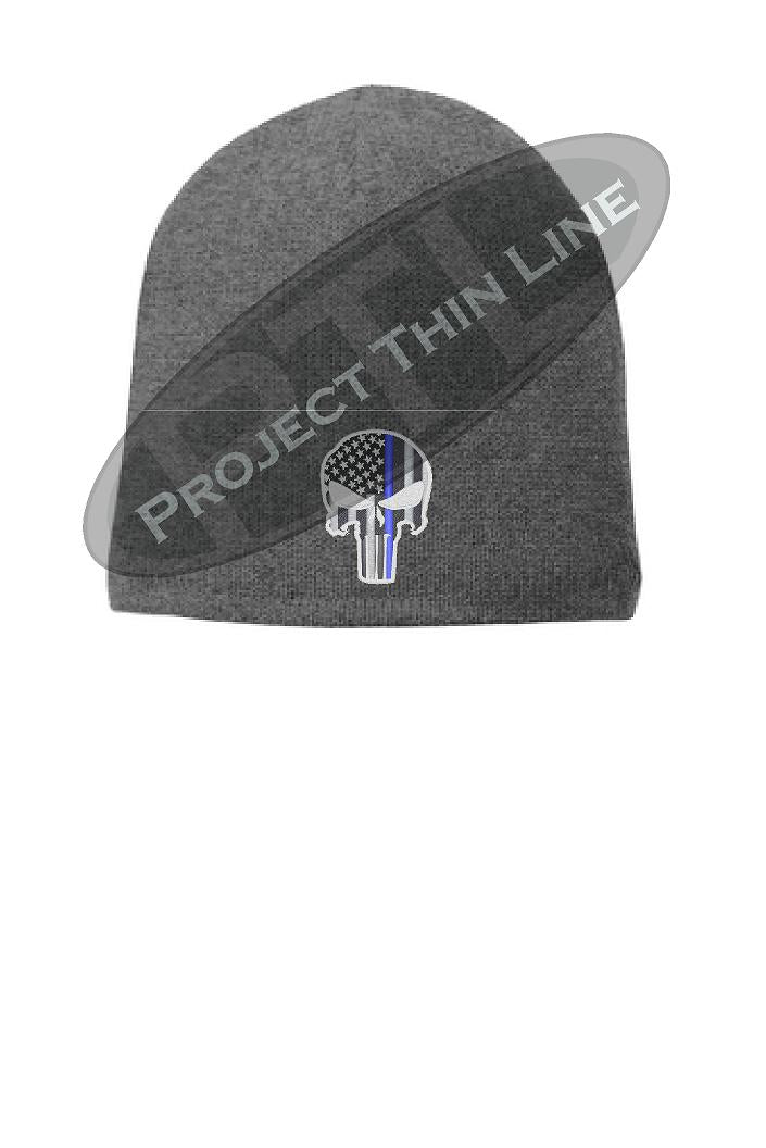 GREY Thin Blue Line Punisher Skull Cap FLEECE LINED BEANIE