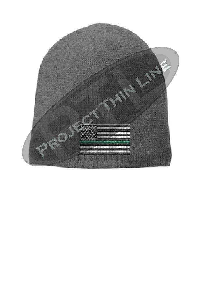 GREY Thin Green Line FLAG Skull FLEECE LINED Beanie Cap