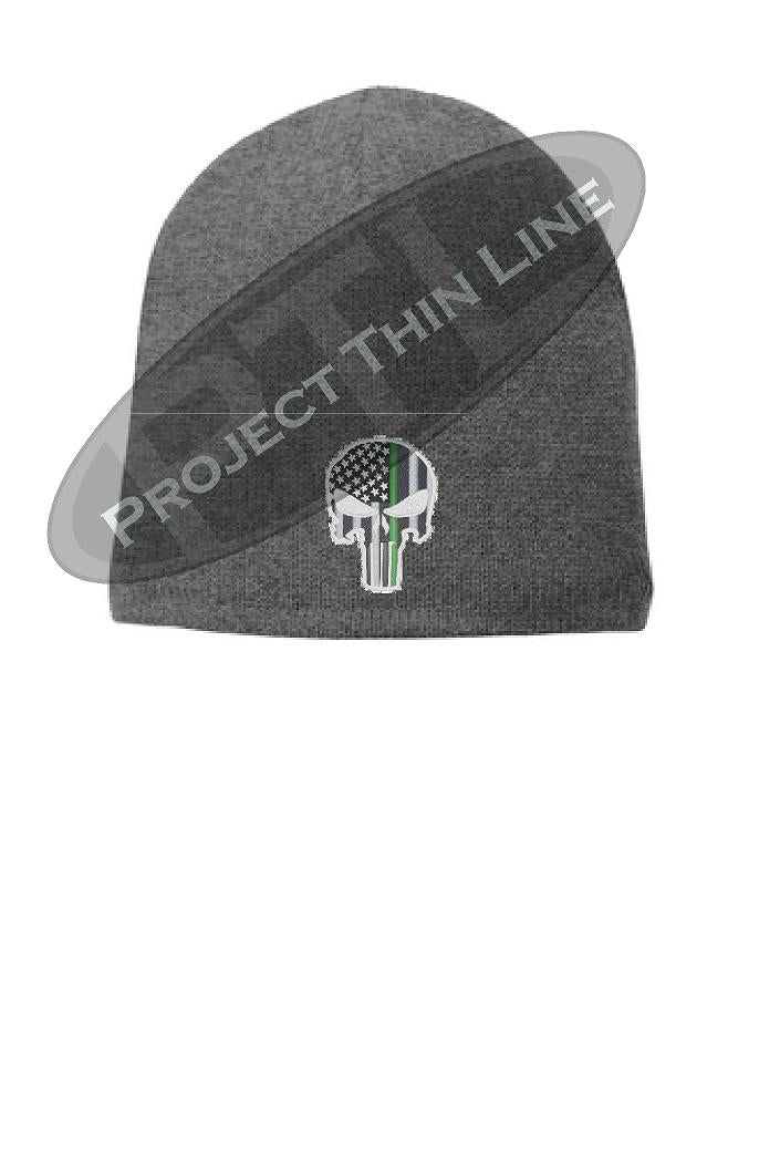 GREY Thin Green Line Punisher SKULL FLEECE LINED Beanie Cap