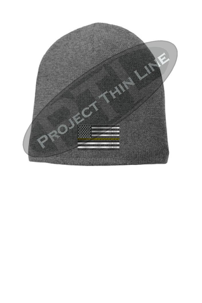 Grey Thin GOLD Line FLAG Skull Beanie Hat Cap