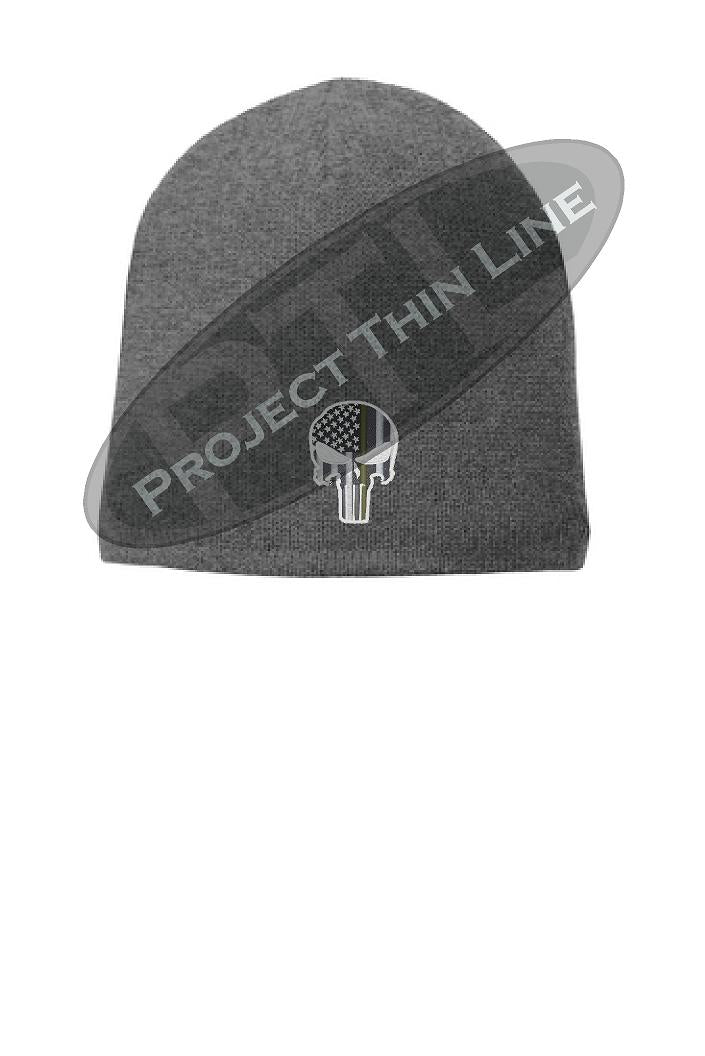 Grey Thin GOLD Line PUNISHER Skull Beanie Hat Cap