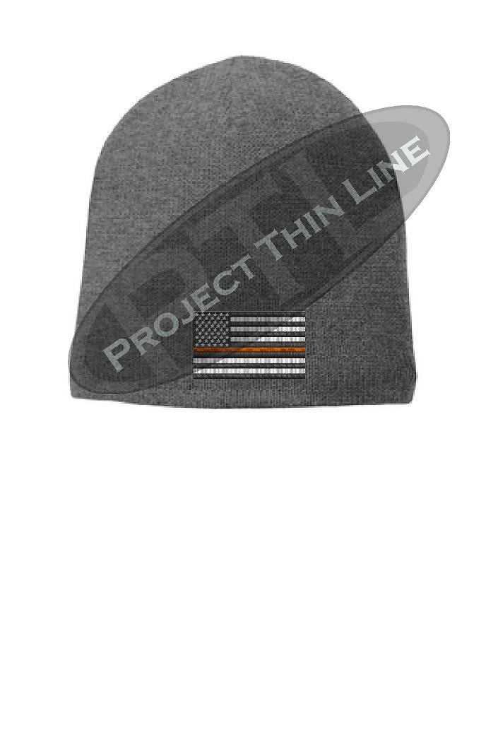 GREY Thin Orange Line FLAG Skull FLEECE LINED Beanie Cap