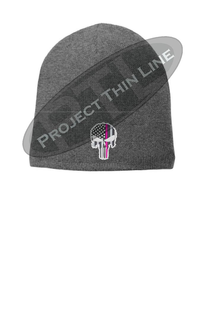 GREY Thin PINK Line PUNISHER Skull FLEECE LINED Beanie Hat Cap