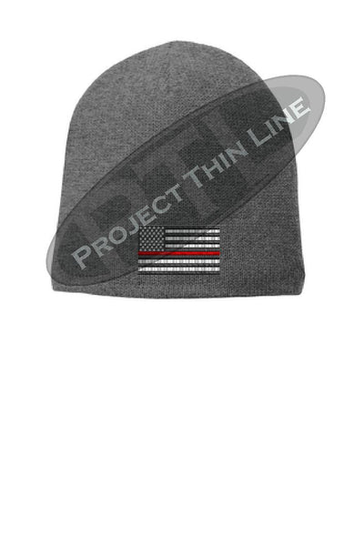 Grey Thin RED Line Flag Slouch Beanie Hat