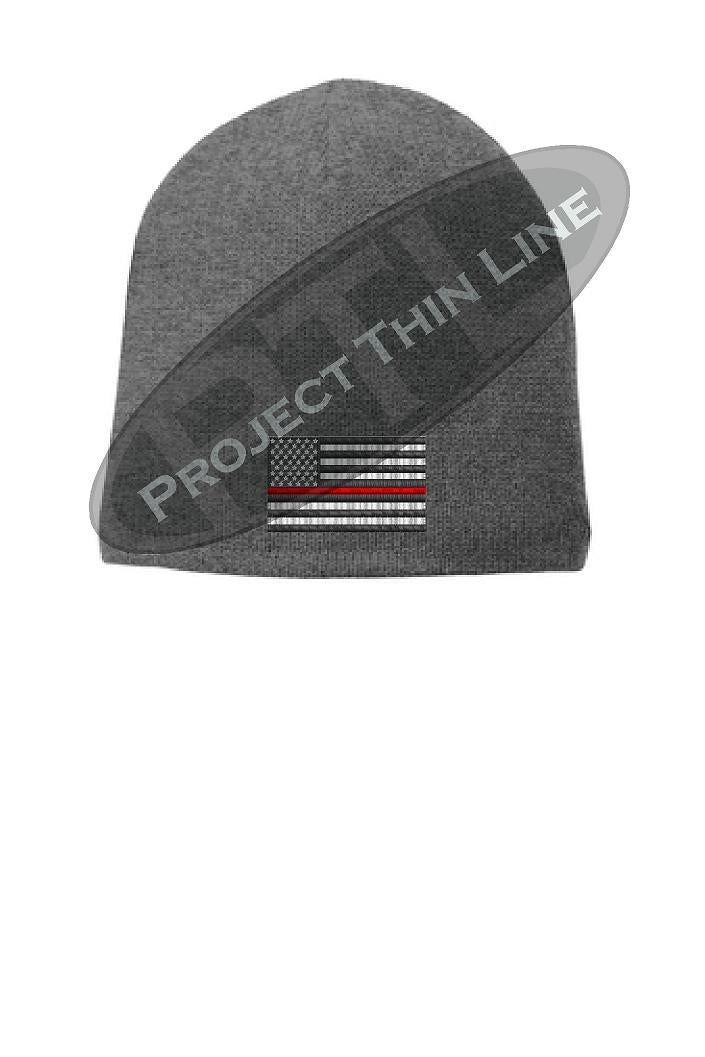 GREY Thin Red Line FLAG Skull Cap FLEECE LINED BEANIE