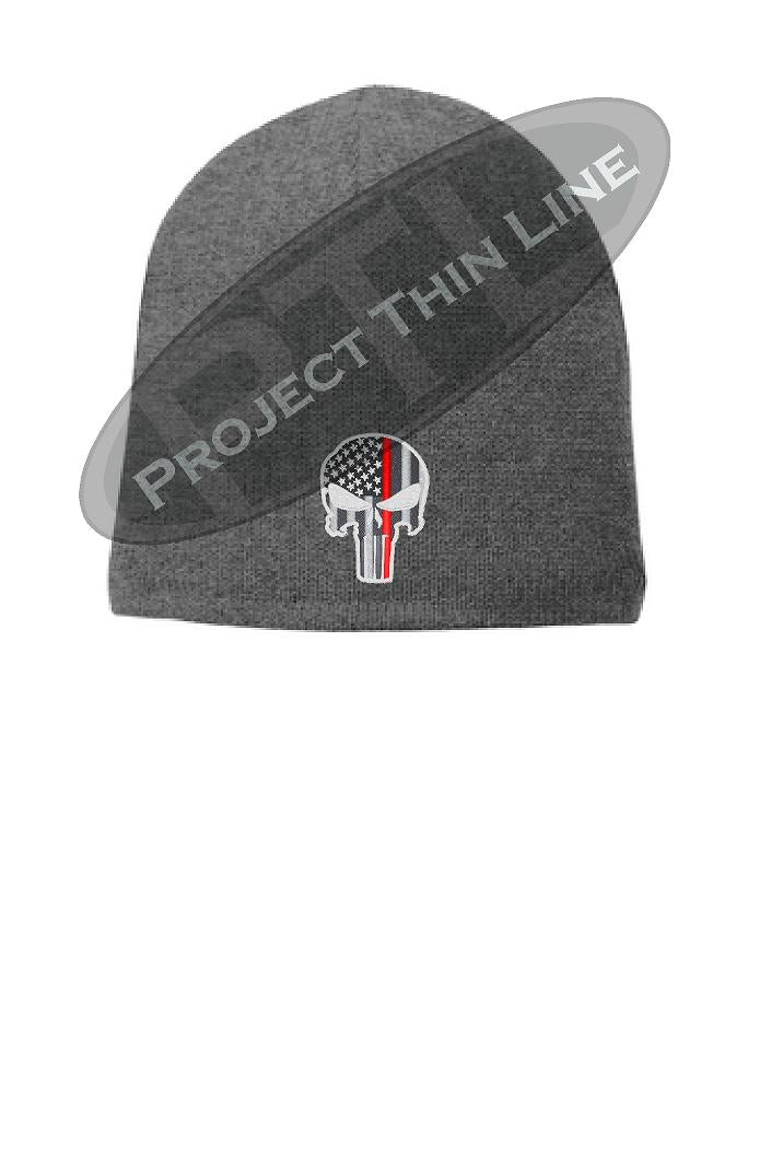Grey Thin Red Line Punisher Skull Cap FLEECE LINED BEANIE