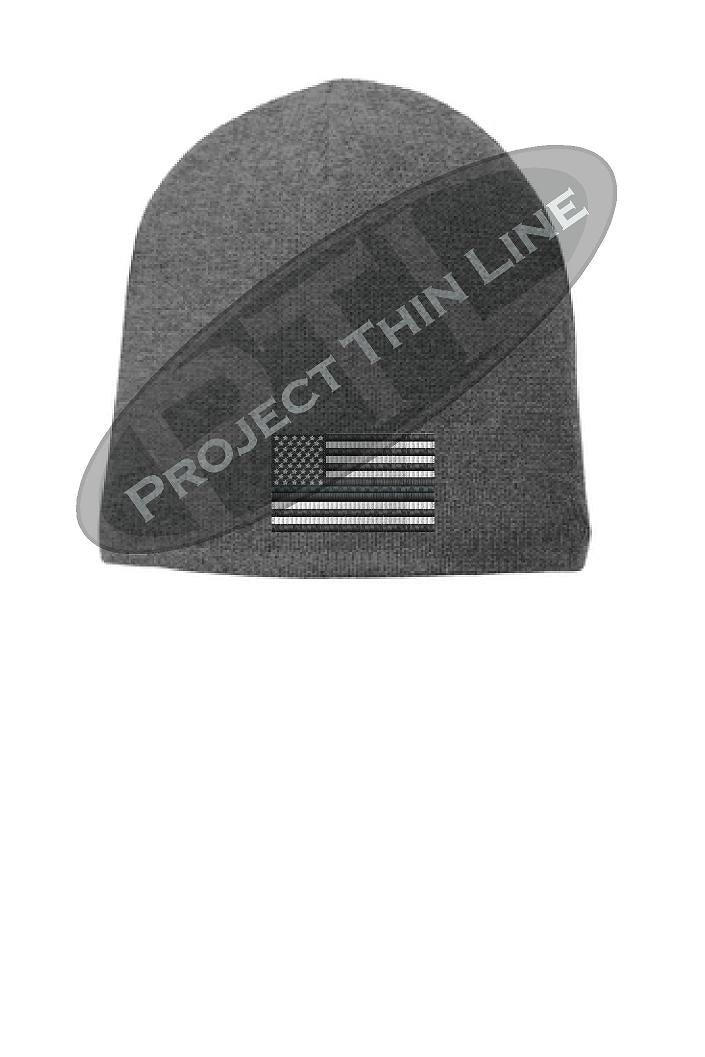 Grey Thin SILVER Line FLAG Skull FLEECE LINED Beanie Cap