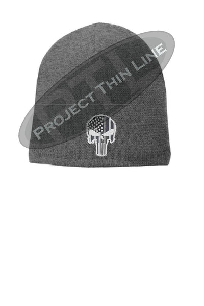 Grey Thin Silver Line Skull Punisher Slouch Beanie Hat