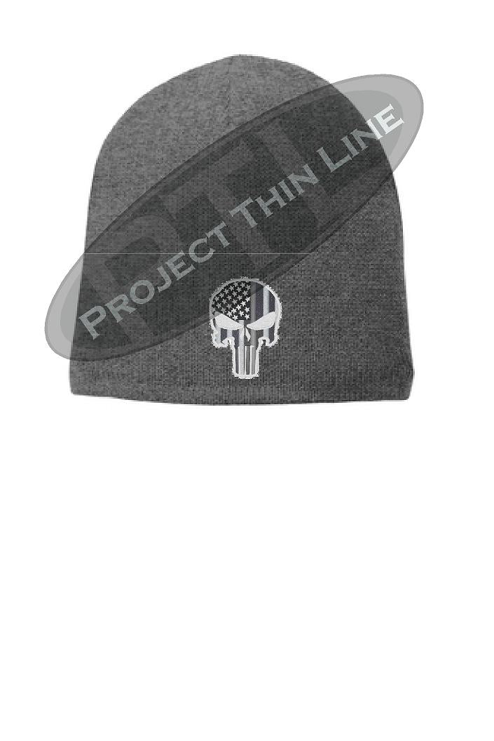 Grey Thin SILVER Line PUNISHER Skull FLEECE LINED Beanie Cap