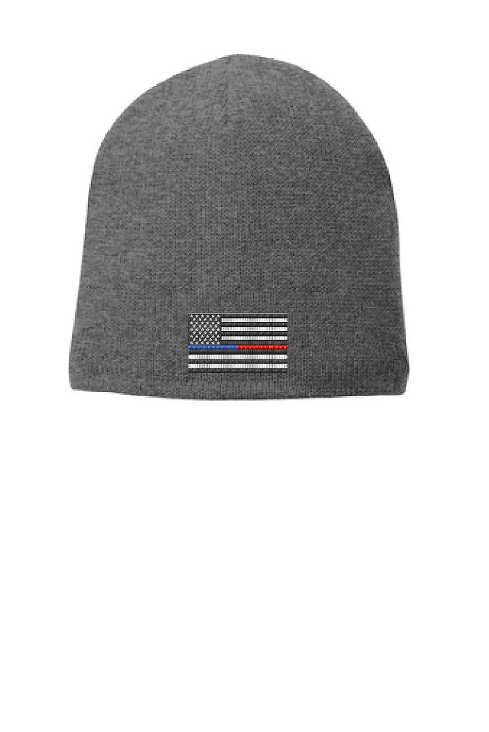 GREY Thin BLUE / RED Line FLAG Skull Beanie Hat Cap