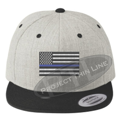 Heather / Black Embroidered Thin Blue American Flag Flat Bill Snapback Cap