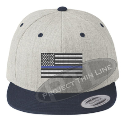 Heather / Navy Embroidered Thin Blue American Flag Flat Bill Snapback Cap