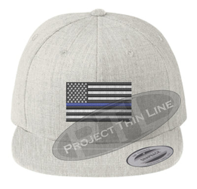 Heather Embroidered Thin Blue American Flag Flat Bill Snapback Cap