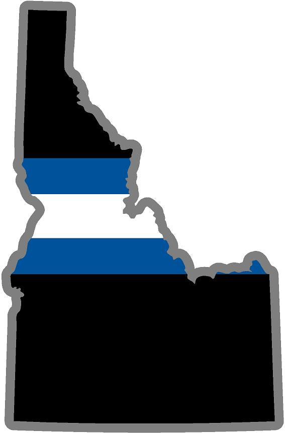 "5"" Idaho ID Thin Blue White Line Black State Shape Sticker"