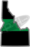 "5"" Idaho ID Thin Green Line Black State Shape Sticker"