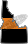 "5"" Idaho ID Thin Orange Line Black State Shape Sticker"