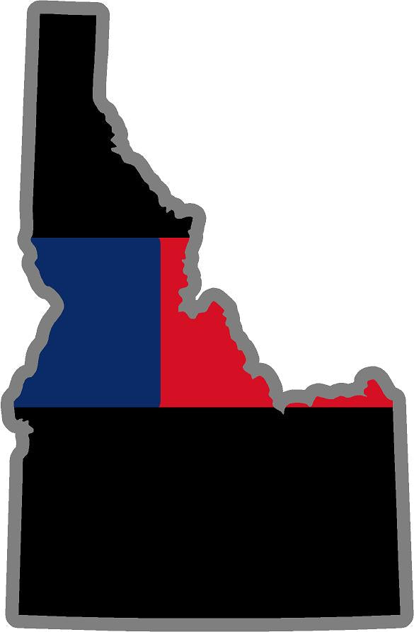 "5"" Idaho ID Thin Blue / Red Line Black State Shape Sticker"