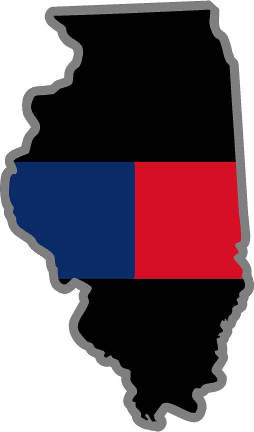 "5"" Illinois IL Thin Blue / Red Line Black State Shape Sticker"