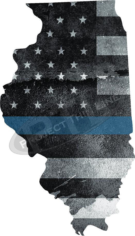 "5"" Illinois IL Tattered Thin Blue Line State Sticker Decal"