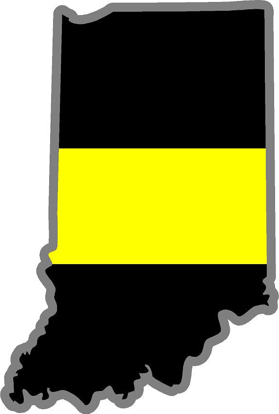 "5"" Indiana IN Thin Yellow Line Black State Shape Sticker"