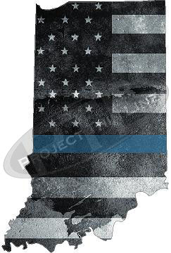 "5"" Indiana IN Tattered Thin Blue Line State Sticker Decal"
