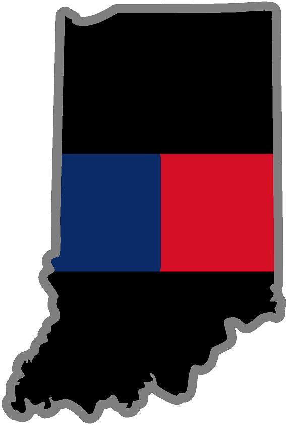 "5"" Indiana IN Thin Blue / Red Line Black State Shape Sticker"