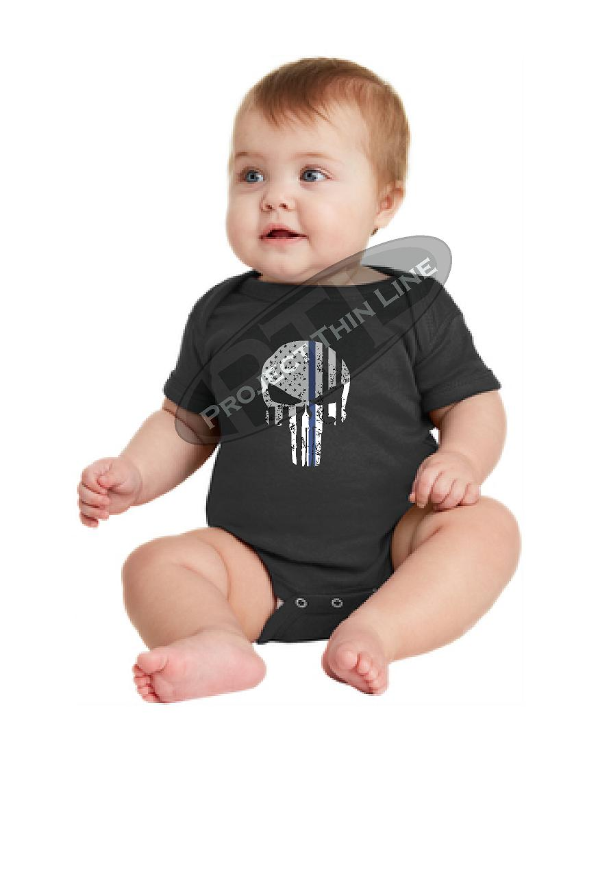 Infant Thin Blue Line US Tattered SKULL Punisher Flag Short Sleeve Baby Bodysuit Onesie - Size Newborn