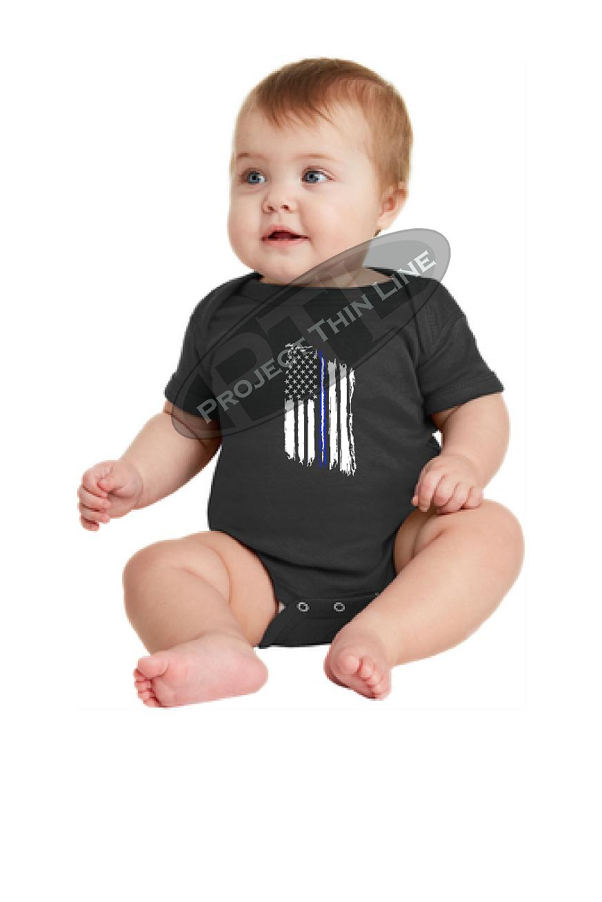 Infant Thin Blue White Line US EMS Tattered Flag Short Sleeve Baby Bodysuit - Onesie