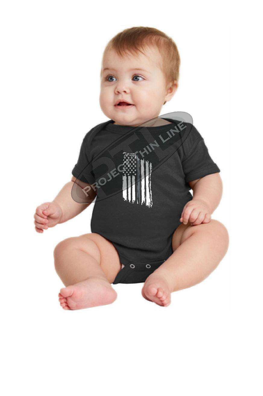 Infant Thin Silver Line US Tattered Flag Short Sleeve Baby Bodysuit - Onesie