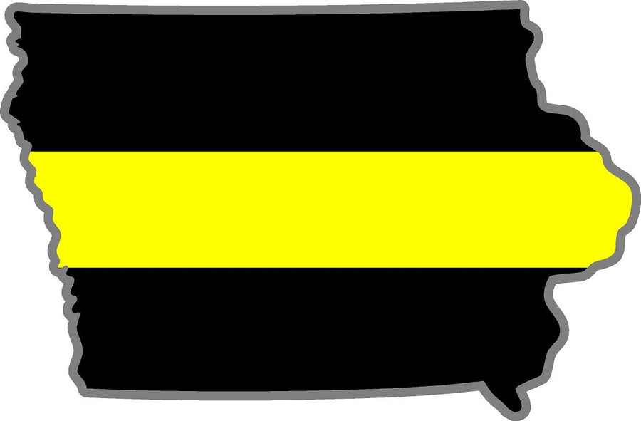 "5"" Iowa IA Thin Yellow Line Black State Shape Sticker"