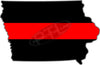 "5"" Iowa IA Thin Red Line State Sticker Decal"