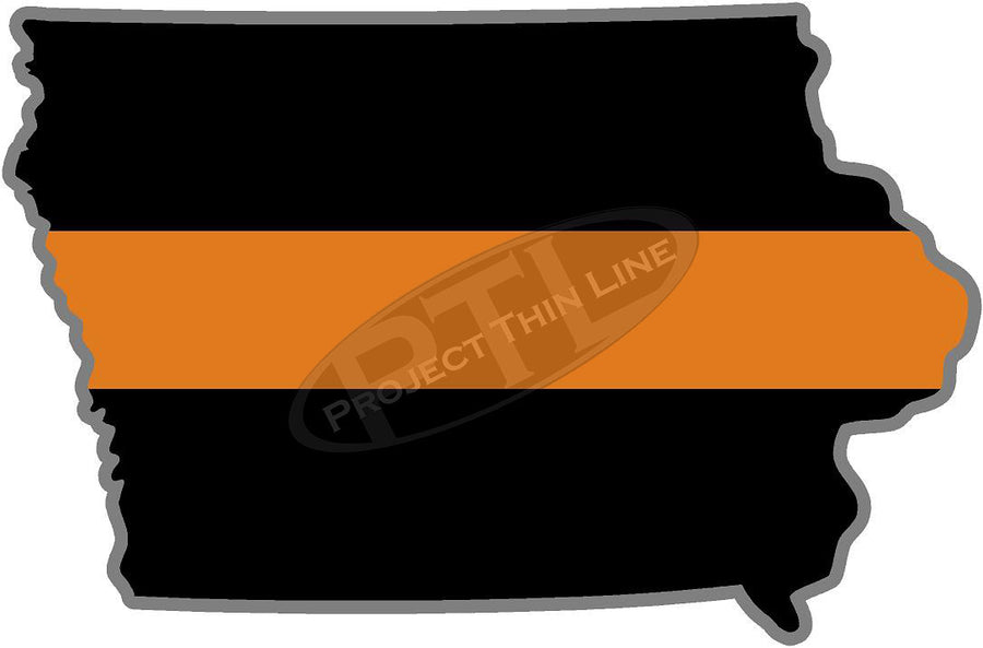 "5"" Iowa IA Thin Orange Line Black State Shape Sticker"