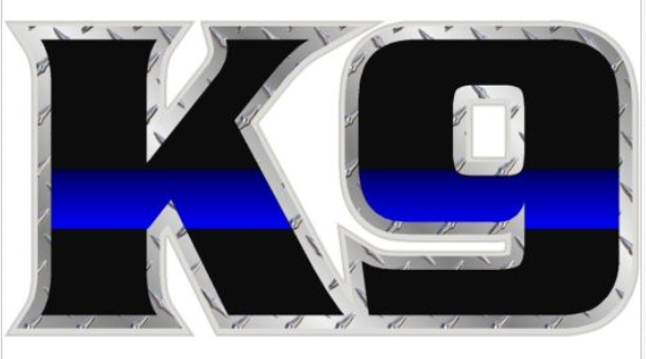 "4"" K9 Text Thin Blue Line Shape Sticker"
