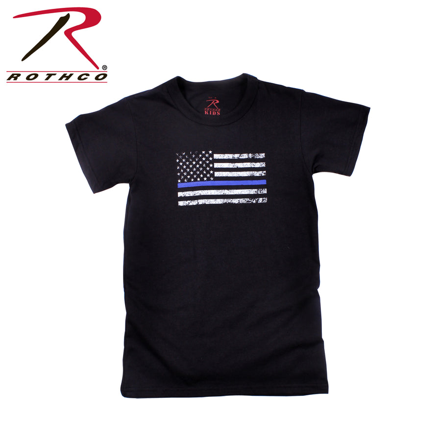 Rothco Kids Thin Blue Line US Tattered Flag Short Sleeve T-Shirt