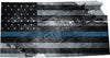 "5"" Kansas KS Tattered Thin Blue Line State Sticker Decal"