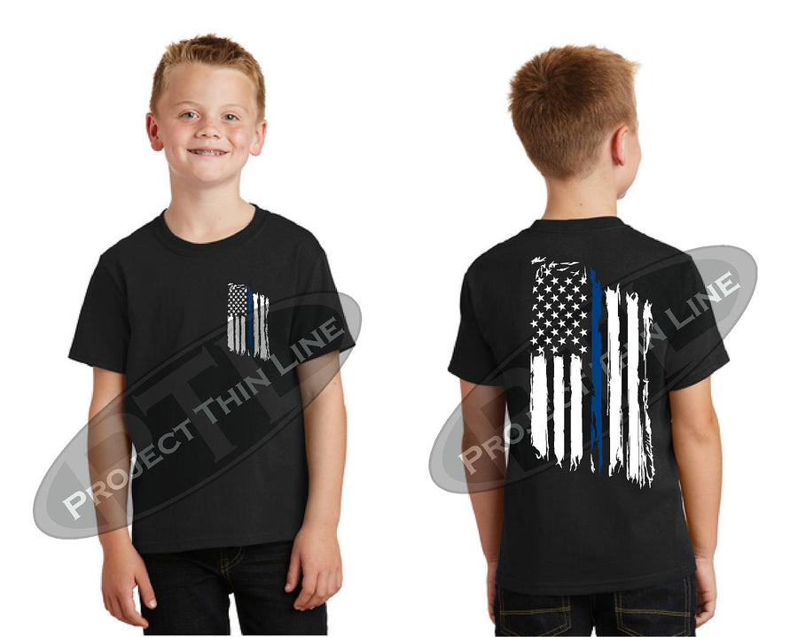 Kids Thin Blue Line US Tattered Flag Short Sleeve T-Shirt