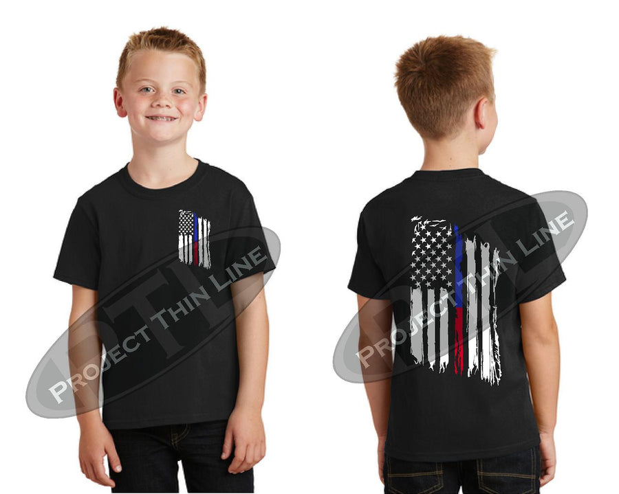 Kids Thin Blue / Red Line US Tattered Flag Short Sleeve T-Shirt
