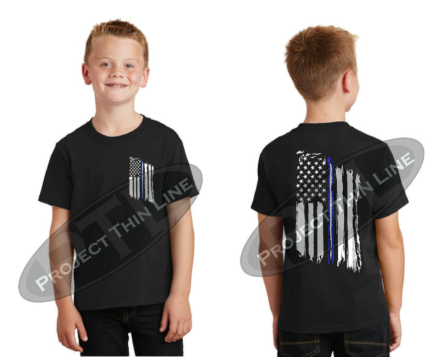 Kids Thin Blue / White Line US Tattered Flag Short Sleeve T-Shirt