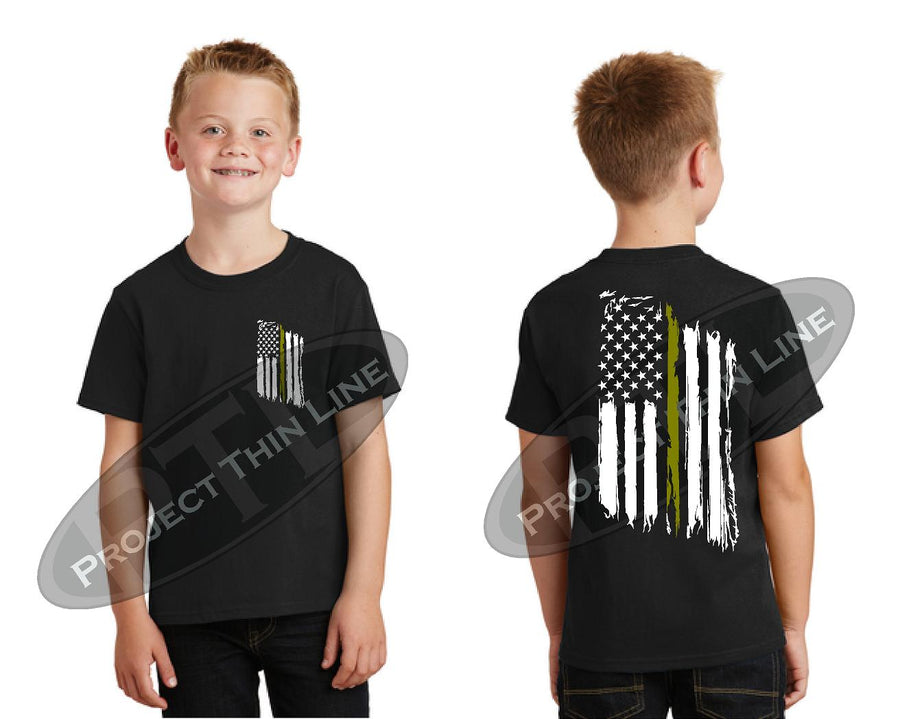 Kids black short sleeve shirt with Thin Gold Line Tattered American Flag