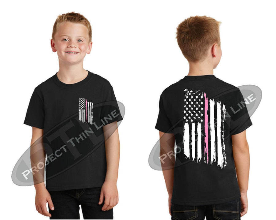 Thin Pink Line US Tattered Flag Short Sleeve T-Shirt